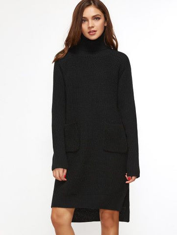 Black Turtleneck Pocket Front High Low Slit Sweater Dress