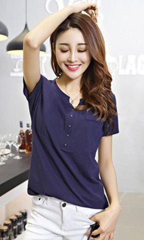 Tops Short Sleeve T-Shirt Korean Plus Size Womens Clothing