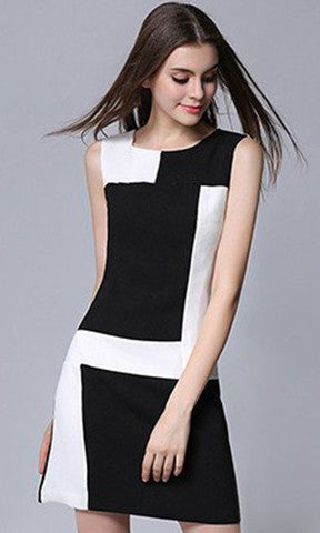 Black And White Casual Women Dresses Zippers Office Chiffon Robe