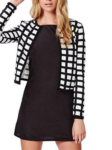 black check plaids print thin bomber women jacket cardigan
