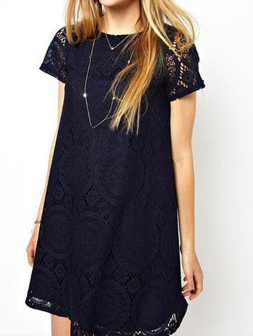 A-Line Short Sleeves Dress Summer Women Hollow Out Lace Sexy Dress