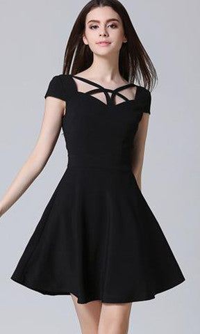 Office A-Line White Dress Chiffon Cute Party Women Dresses Black Plus