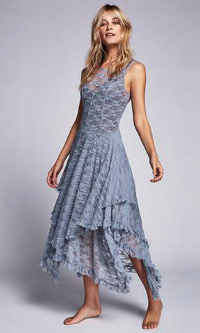 hippie Style Asymmetrical embroidery Sheer lace dresses