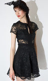 Lace Dress Women Short Sleeve Female A-line Dress Sweet Style Solid