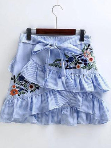 Embroidery Striped Skirt Sexy Slim Short  Pencil Skirts Bow Tied Mini Skirt