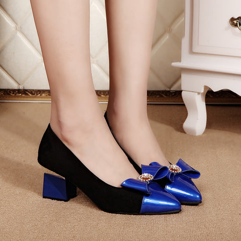 Elegant Women's Pumps Slip On Pointed Toe Patchwork