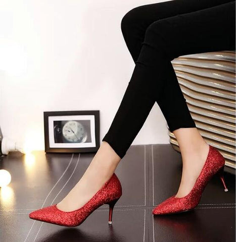 Elegant Sequins Cloth Lady Wedding Shoes High Heel Pointed Toe