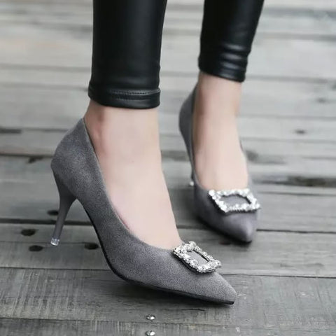 Elegant Lady High Heels Shoes OL Suede Pointed Toe Women Pumps