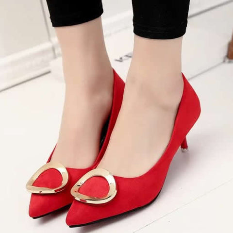 Elegant Lady Mid Heels Suede Pointed Toe Women Pumps