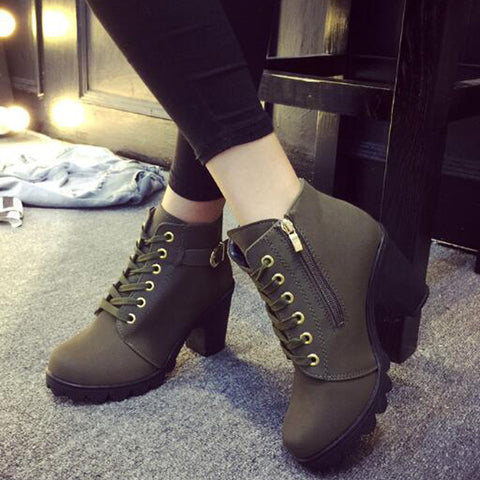 high heel single shoes vintage Women Motorcycle Boots