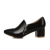 Pumps Shoes Pointed toe Thick Sole Square High Heel Shoes