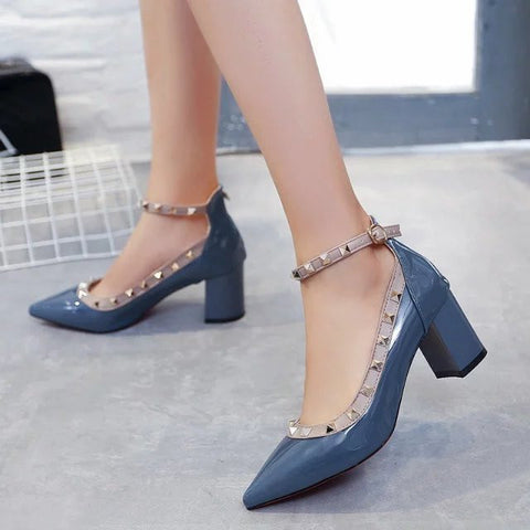 Elegant Women's Rivets Sexy Pumps Slip On Pointed Toe Office Shoes