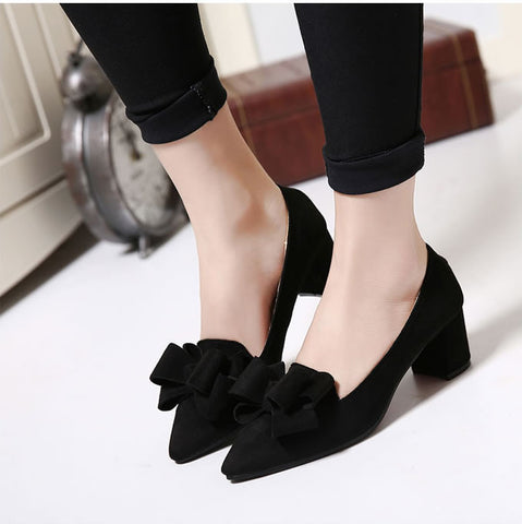 Elegant Women Casual Shoes Slip On Pointed Toe Square Heel