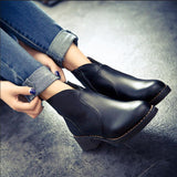 boots thick bottom PU leather waterproof woman Martin boots