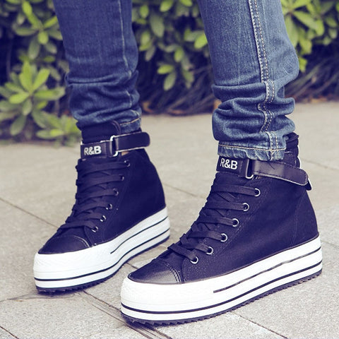 women rivets canvas shoes +PU surface fashion belt buckle high