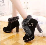 waterproof ankle boots fur boots black