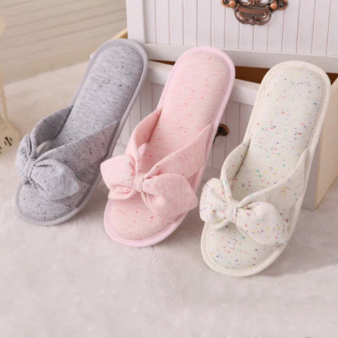 Japanese cloth cute ice cream color, bows, women slippers,