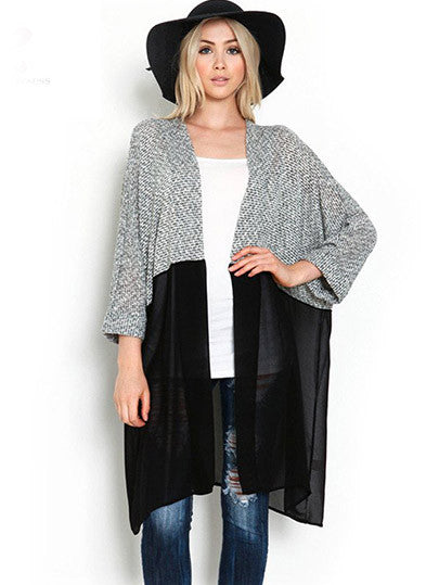 Kimono Cardigan Knitted Chiffon Blouse Shirt Female Long Casual Chiffon