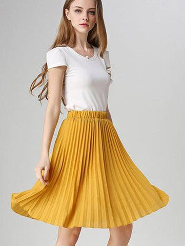 Pleated Skirt Vintage High Waist Tutu Skirts Womens Saia Midi Rokken