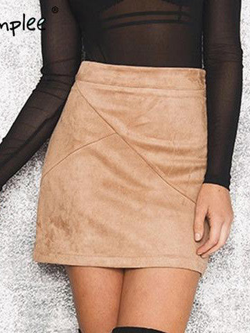high waist skirt Zipper split bodycon short skirts womens