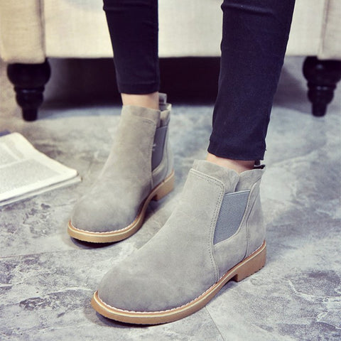 Autumn Suede Leather Black Flats Boots Rubber Shoes