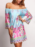 Multicolor Off the Shoulder Floral Dress
