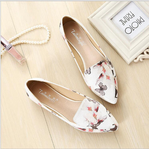 white black Glossy Patent Leather Women Nude Flats ladies Floral Shoes