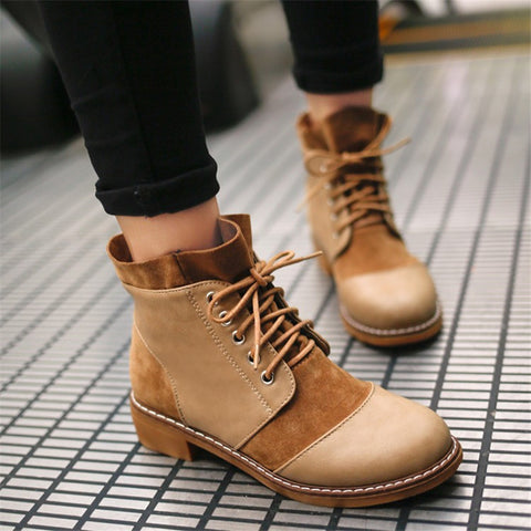 Ankle Boots Flat Heels Lace up Casual Shoes Woman Retro Oxfords