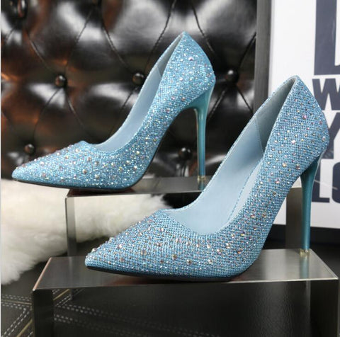 Sexy Pumps Women Pointed Toe Thin Heels Sequins Rhinestone