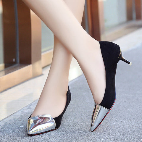 Suede Leather Patchwork Sexy Pointed Toe Thin Heels