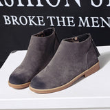 Vintage Women Ankle Boots Zipper Motorcycle Flat Leather