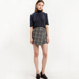 Skirts Women High Waist Female Plaid Mini Skirts Asymmetrical Casual