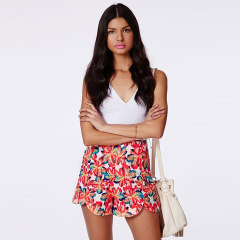High Waist Straight High Low Shorts Women Floral Print Slim Casual Shorts