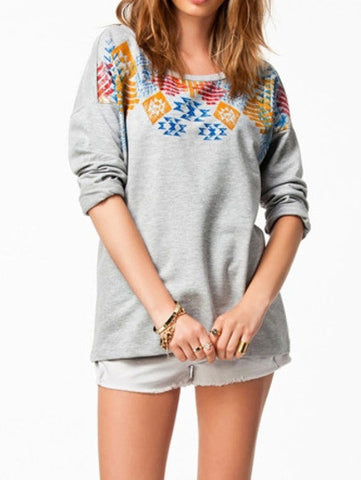 Grey Round Neck Geometric Print Loose T-Shirt