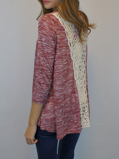 Red Round Neck With Lace T-Shirt