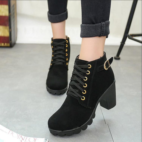 warm snow boots Solid Lace-up Ladies PU Fashion shoes