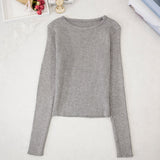 O-neck Long Sleeve Clothing Crop Top Feminine White Black Knitted