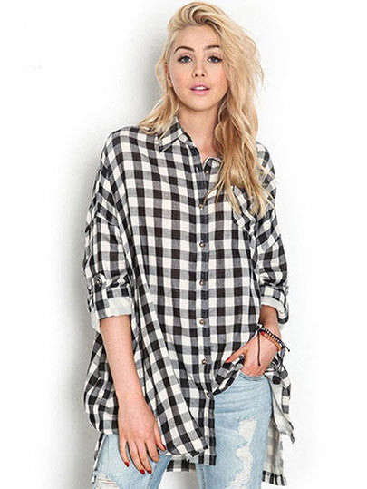 Long Sleeve Casual Long Black White Plaid Shirts Blouses Loose Plus Size