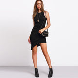 Black Sleeveless Irregular Hem Sheath Dress