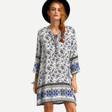 V-Neck Paisley Print Tunic Dress