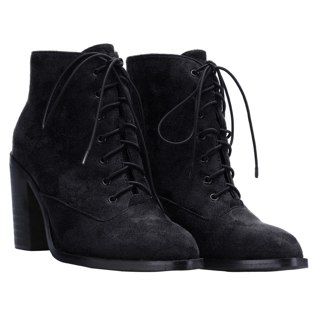 Black Lace Up High Heeled Boots