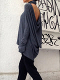 Grey High Neck Cowl Back T-Shirt