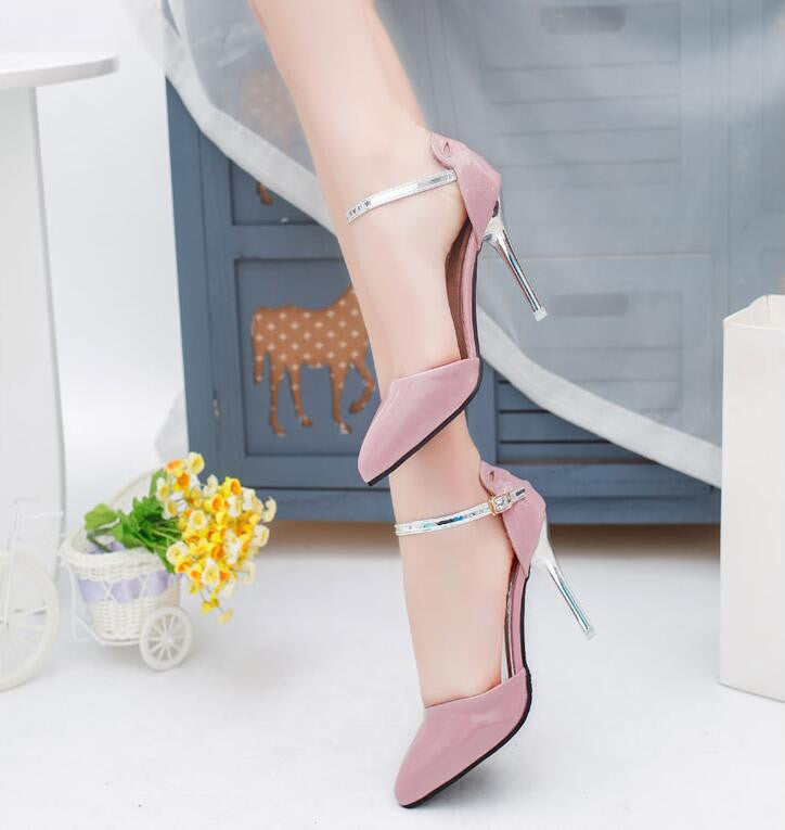 Elegant Pointed Toe Women's Shoes Ankle Strap Heels 9 cm