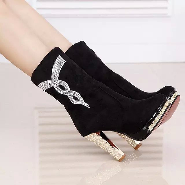 winter ankle casual high heels shoes women boots with Fur
