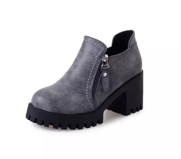 non slip women boots warem fashion side zipper ankle boots thick heel