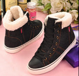 new denim canvas shoes female warm casual snow boots  botas invierno