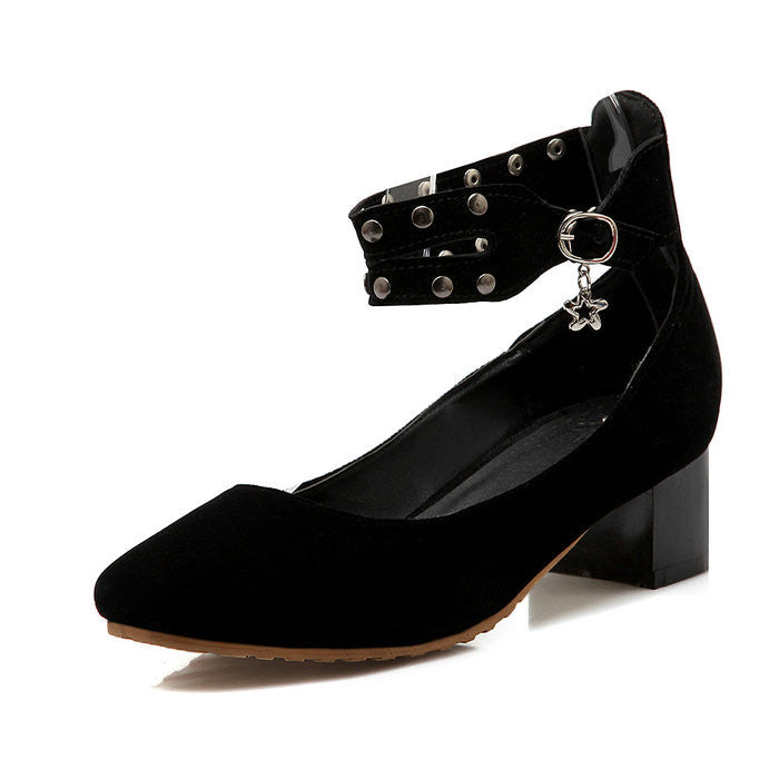 Flock Square toe Platform Shoes Rivets Ankle Strap