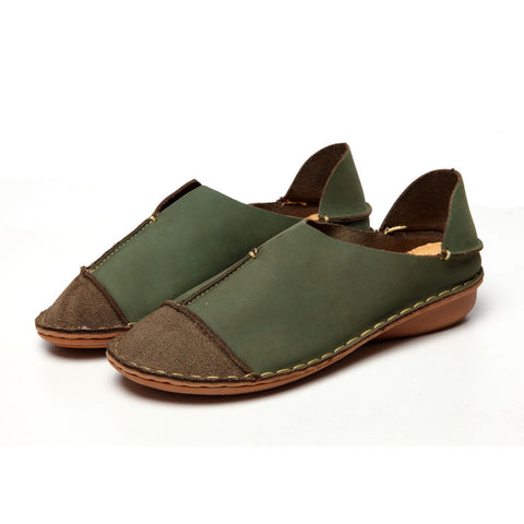 Genuine Leather Loafers Stitched Casual Slip-On Solid Round Toe