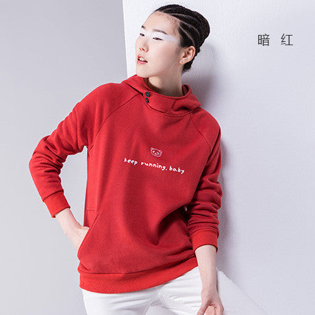 Sweatshirts Panda Letter Printed Hooded Long Sleeve Casual Solid Color