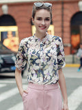 Half Sleeve Chiffon Blouse For Women Summer Vintage Shirts Blouse Shirt